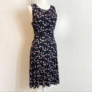 Loft Mauve Cherry Rockabilly Style Dress
